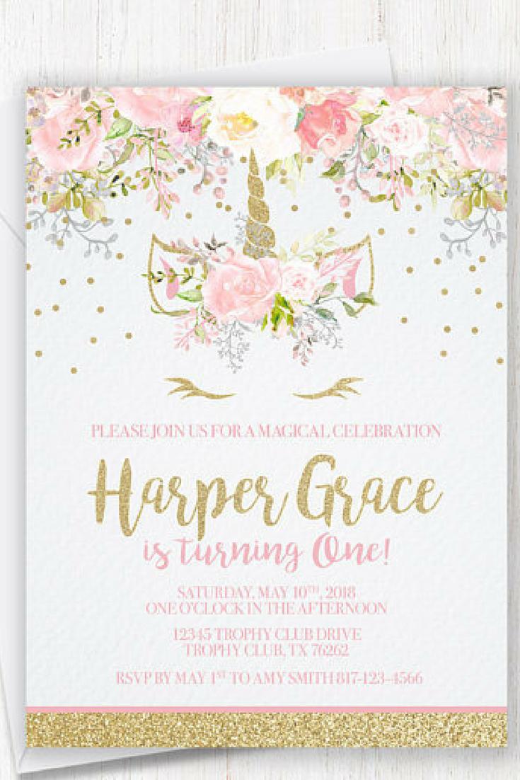 8 x Unicorn Sparkle Party Invitations Birthday Christening Pink Pastel Gold