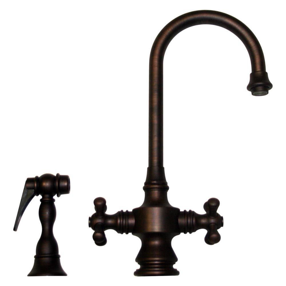 Bar Faucet With Side Sprayer In Mahogany Bronze