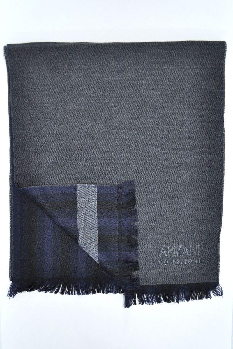 Wool Giorgio Armani scarf with gray black navy stripes design. Genuine Giorgio Armani men collection. Genuine Armani Online.