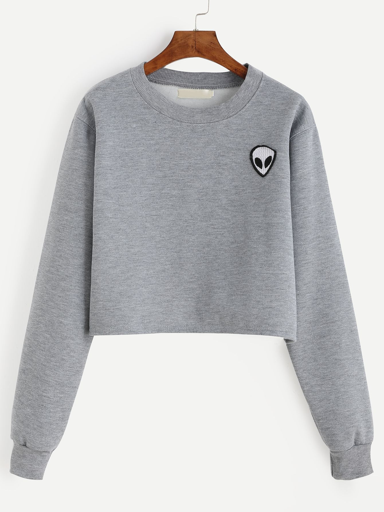 Sweat-shirt col rond avec patch motif alien - gris