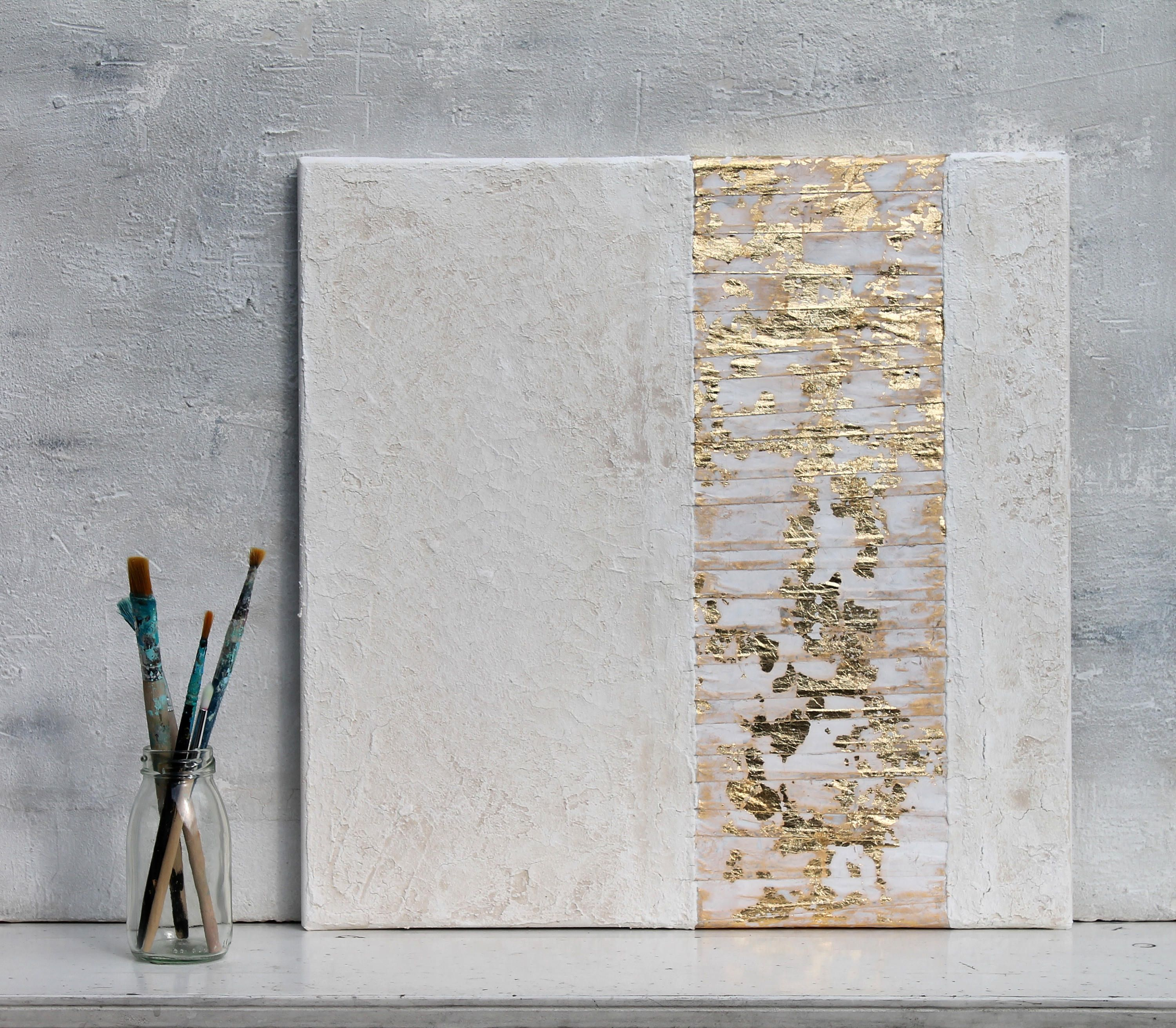 Gold leaf, white, Abstract painting, office decor, mixed media ...