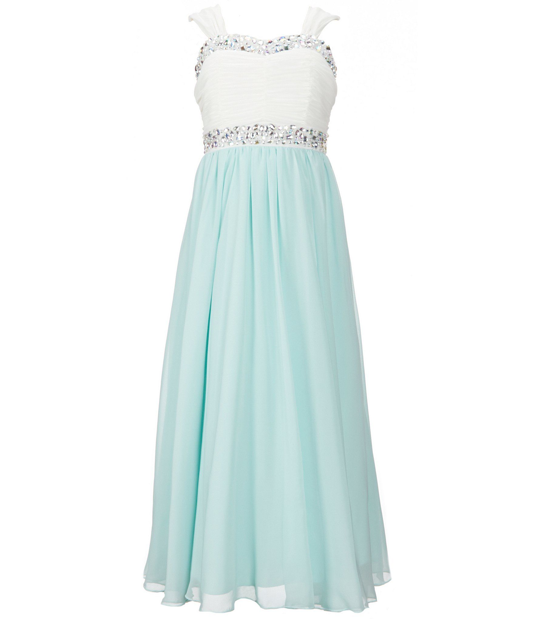 Xtraordinary Big Girls 716 Beaded Color Block Chiffon Maxi Dress ...