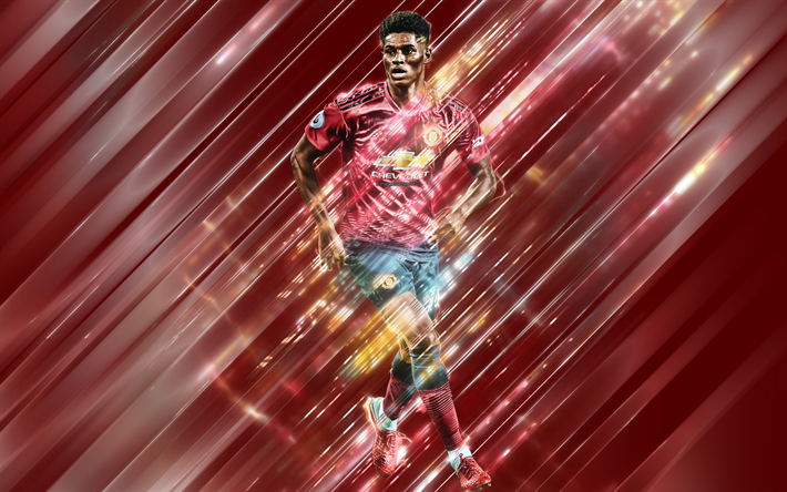 Most Beautiful Manchester United Wallpapers Rashford Download wallpapers Marcus Rashford, creative art, blades style, English footballer, Manchester United FC, Premier League, England, MU, red creative background, football