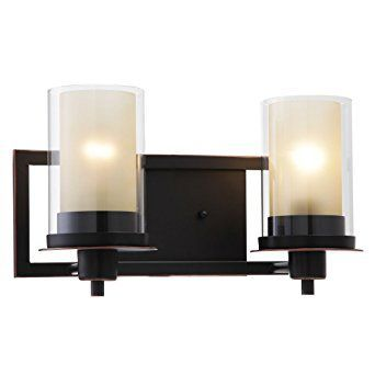 Photo of Designers Impressions Juno Oil Rubbed Bronze 2 Light Wall Sconce / Bathroom Fixture with Ambe…