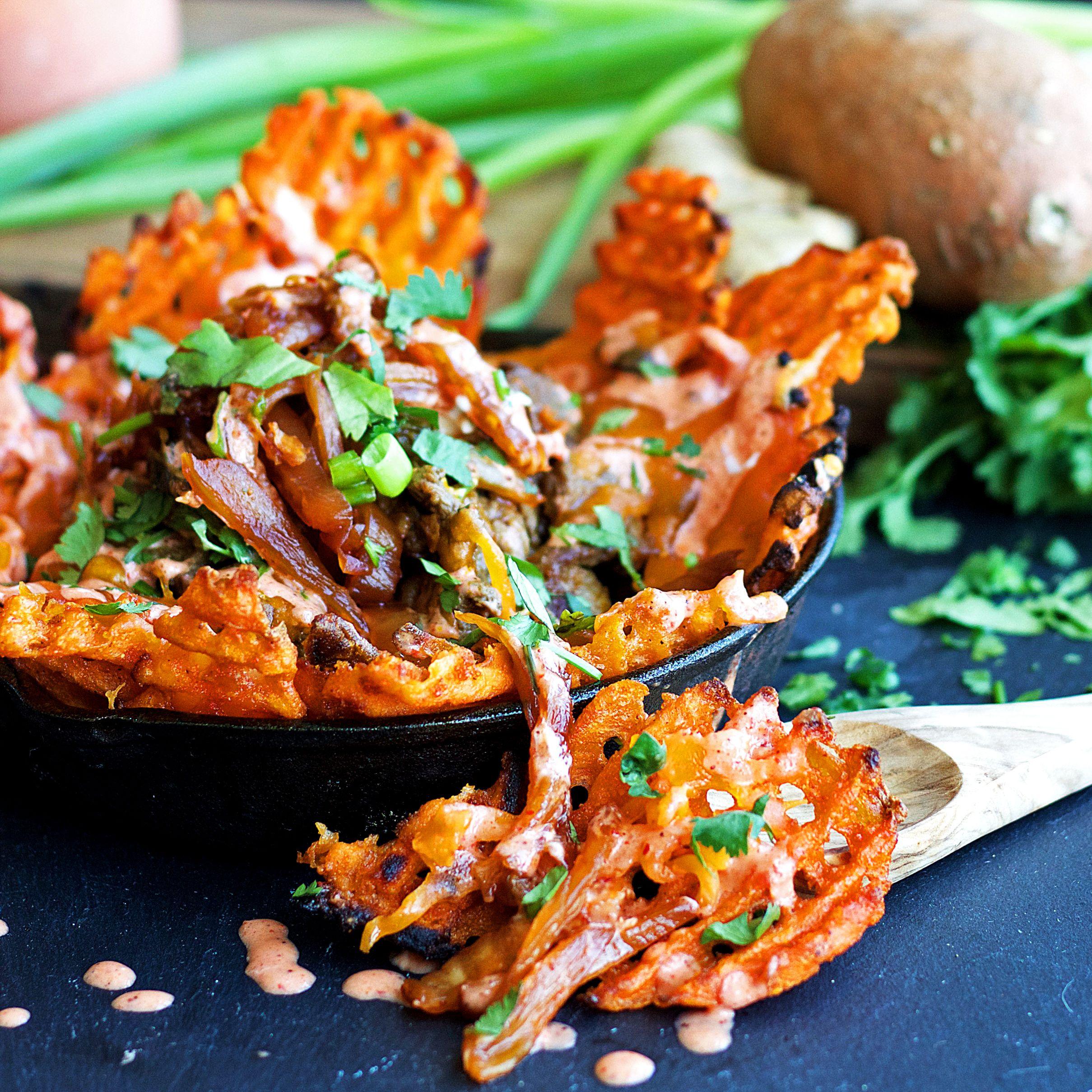 Caramelized Kimchi Fries (Lightened-up, Gluten Free, Vegan