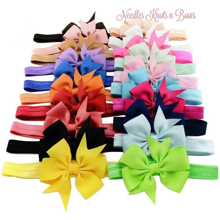 20PCS Baby Girls Toddler Grosgrain Hair Band Bow Headband Accessories Hairband