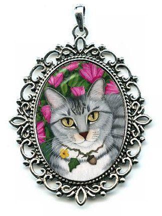gray tabby cat necklace silver tabby cat azalea by tigerpixie