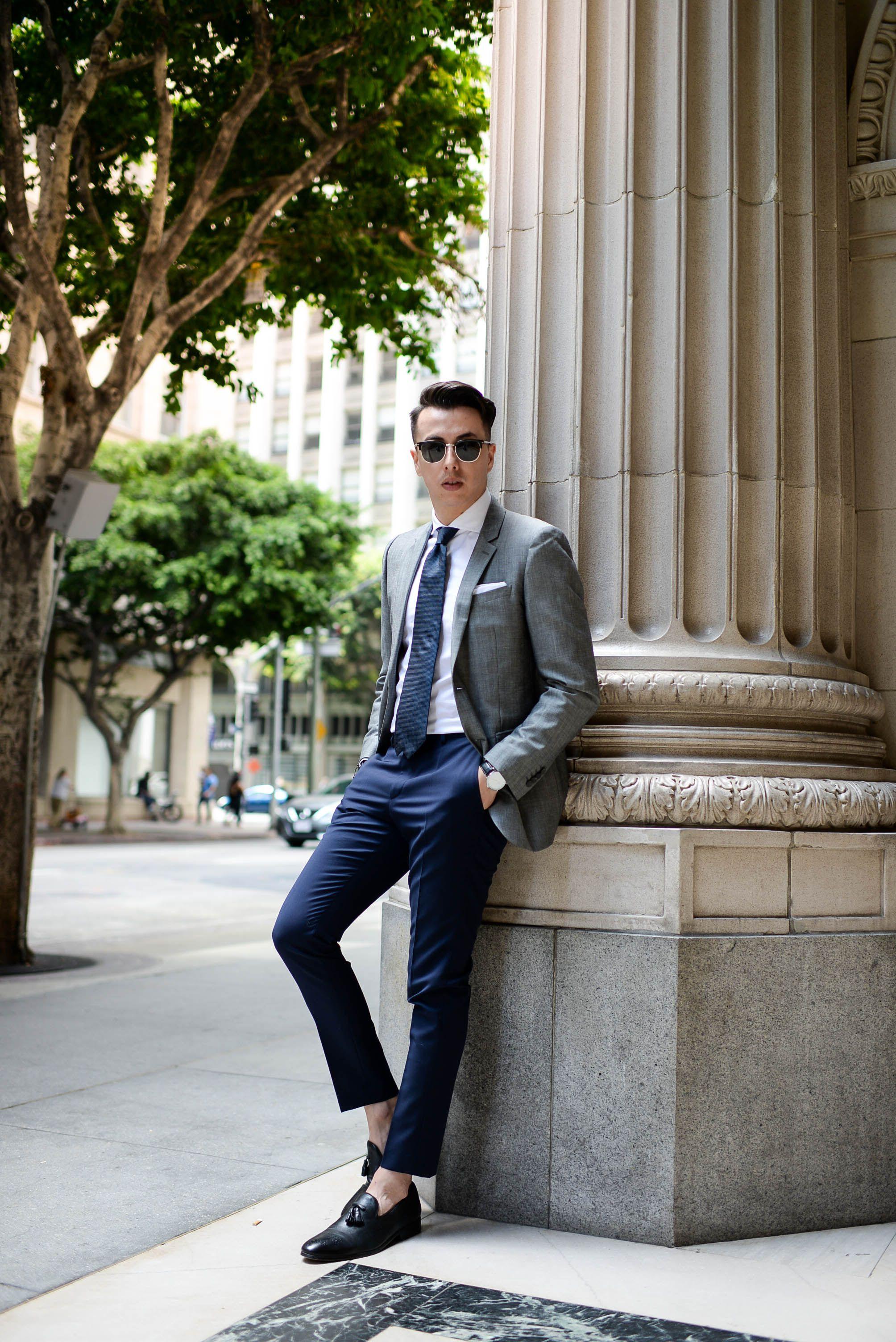 3f1329db120 Gray blazer + navy tie + white dress shirt + navy pants + black loafers