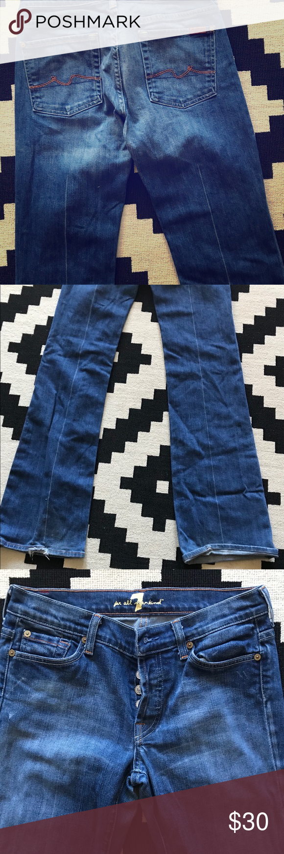 Seven Mankind Jeans Flare form fitting denim 7 jeans! I've had these jeans for a few years so there are some snags on the bottom. I've included the snags in the picture. 7 For All Mankind Jeans Boot Cut