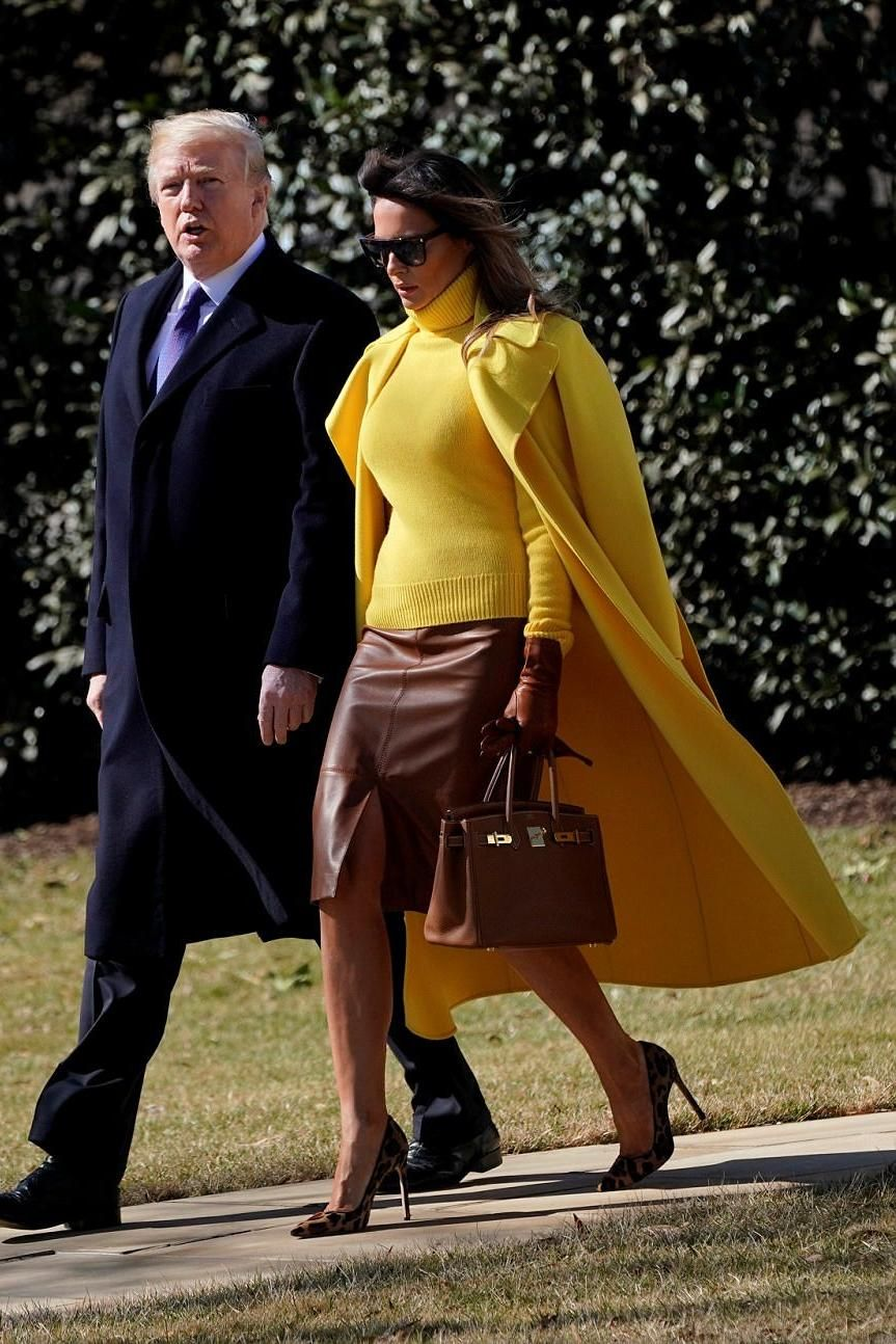 5981dbe6220 Melania Trump wearing Ralph Lauren Collection Cashmere Roll Neck Jumper in  Yellow