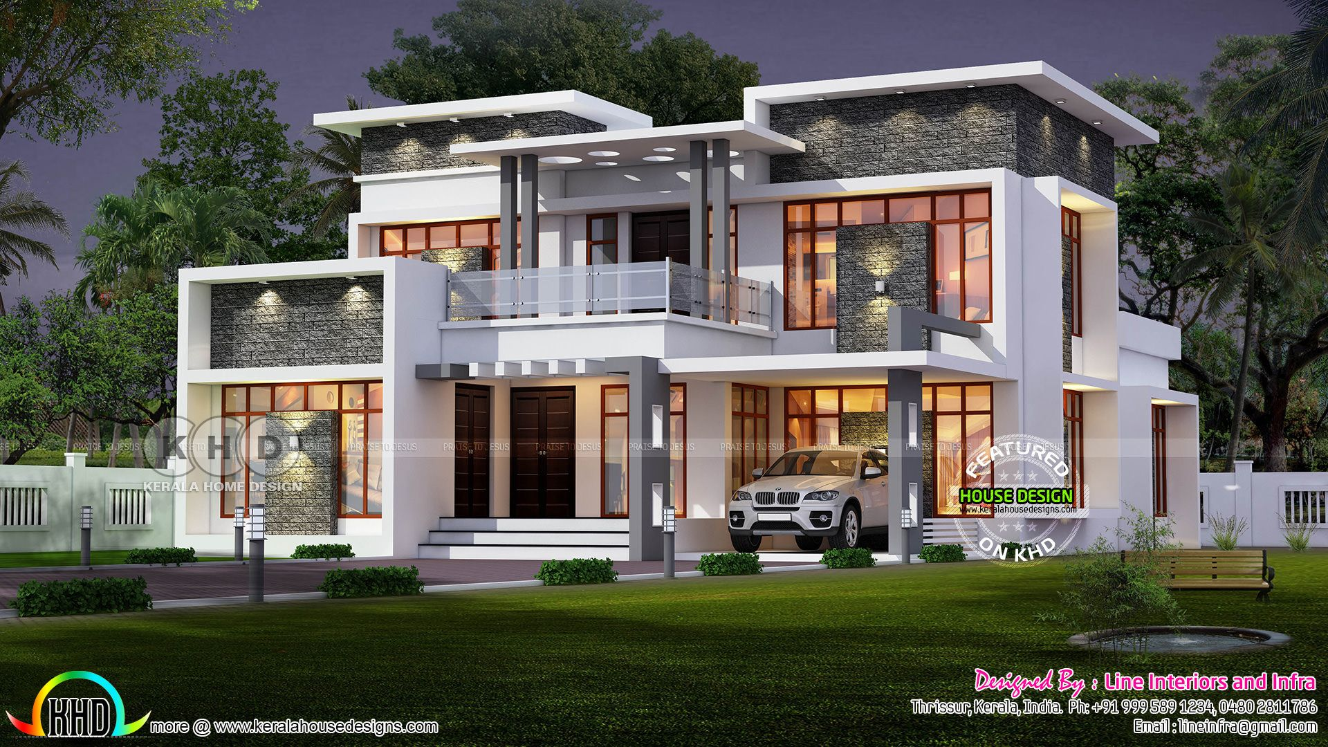 Modern Contemporary Home 2620 Sq Ft Kerala House Design Modern Contemporary Homes Bungalow House Design