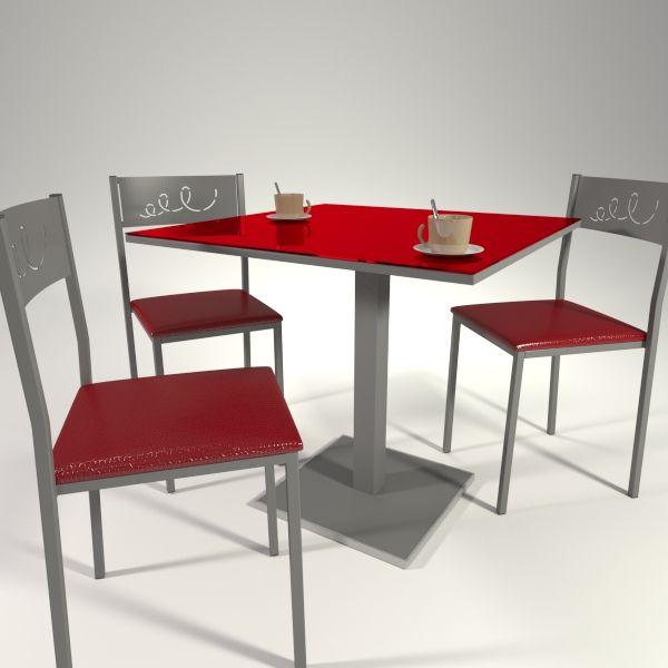 Juego de mesas y sillas en cristal rojo cocinas for Juego de mesa y sillas para cocina
