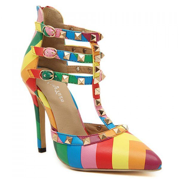 Women'S Sandals Trendy Multi Colored And Rivets