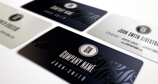 Why you should use a business card graphics to you pinterest elegant business cards templates designed with two color options dark blue and white with elegant foil stamp for effect reheart Gallery