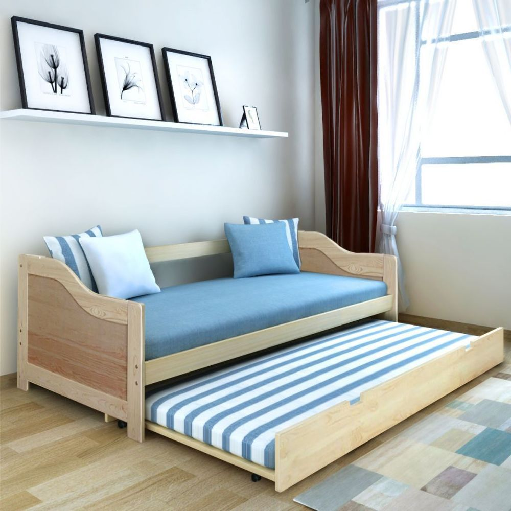 Double Sofa Bed Pine Wood Daybed Bunk Bed Pull Out Bed Wheeled Guest ...