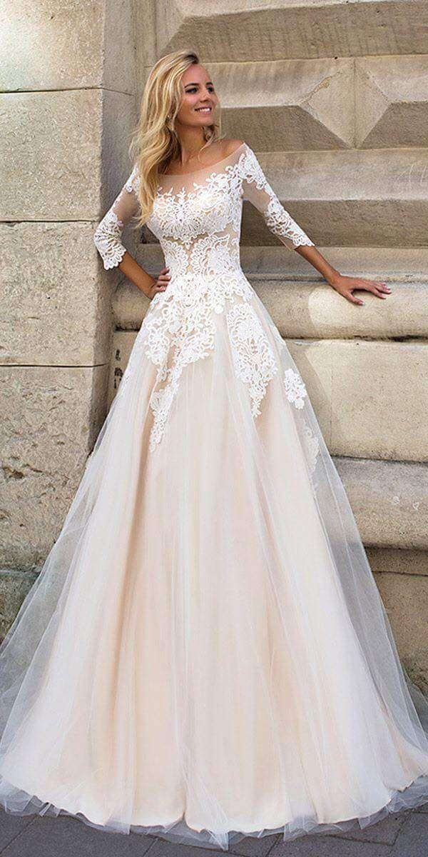 Boho Crochet Lace Layer Blush Wedding A Line Dress