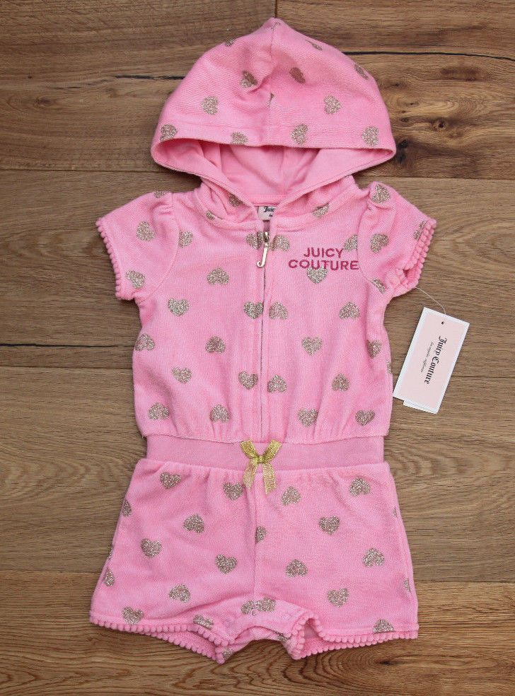 Juicy Couture Baby Girl Hooded Zip Up Terry Romper Pink With Gold Hearts Ebay Juicy Couture Baby Juicy Couture Terry Romper