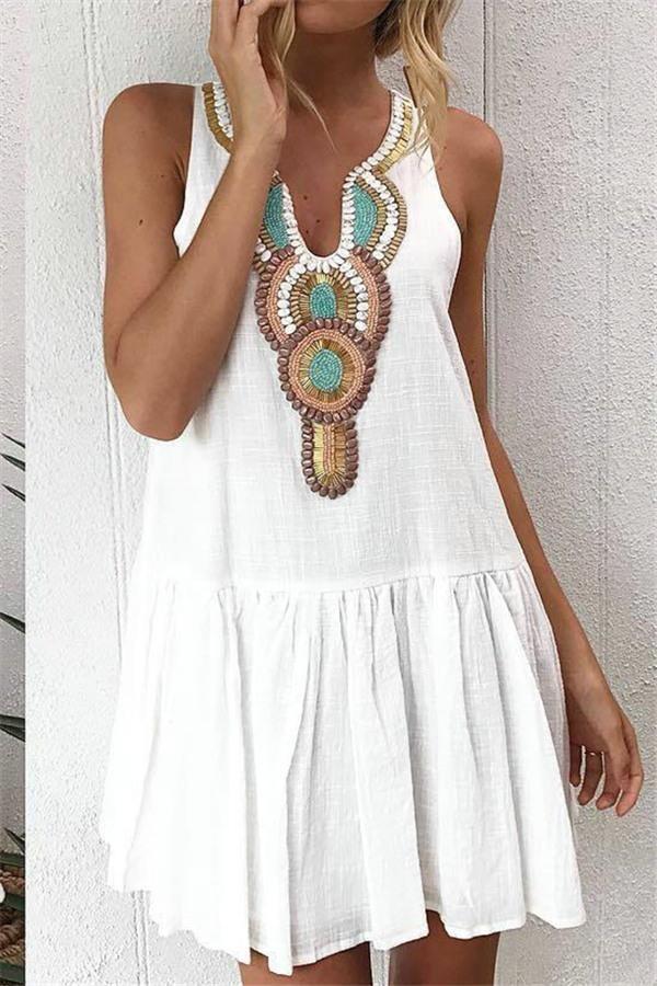 Boho Chic Ruffles Mini Dress