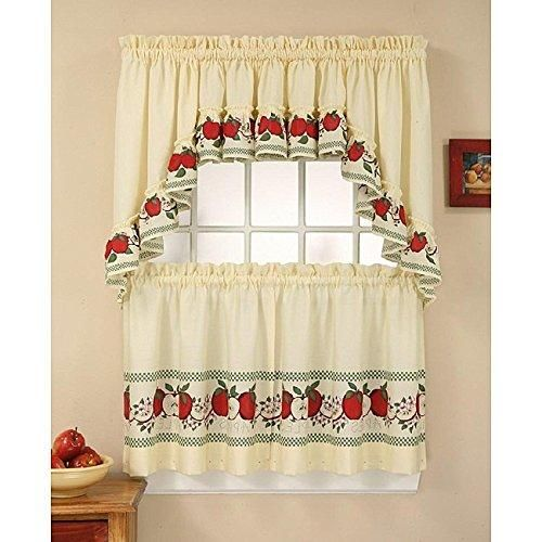 24 Inch Red Color Delicious Apple Curtain Tier Swag Set White