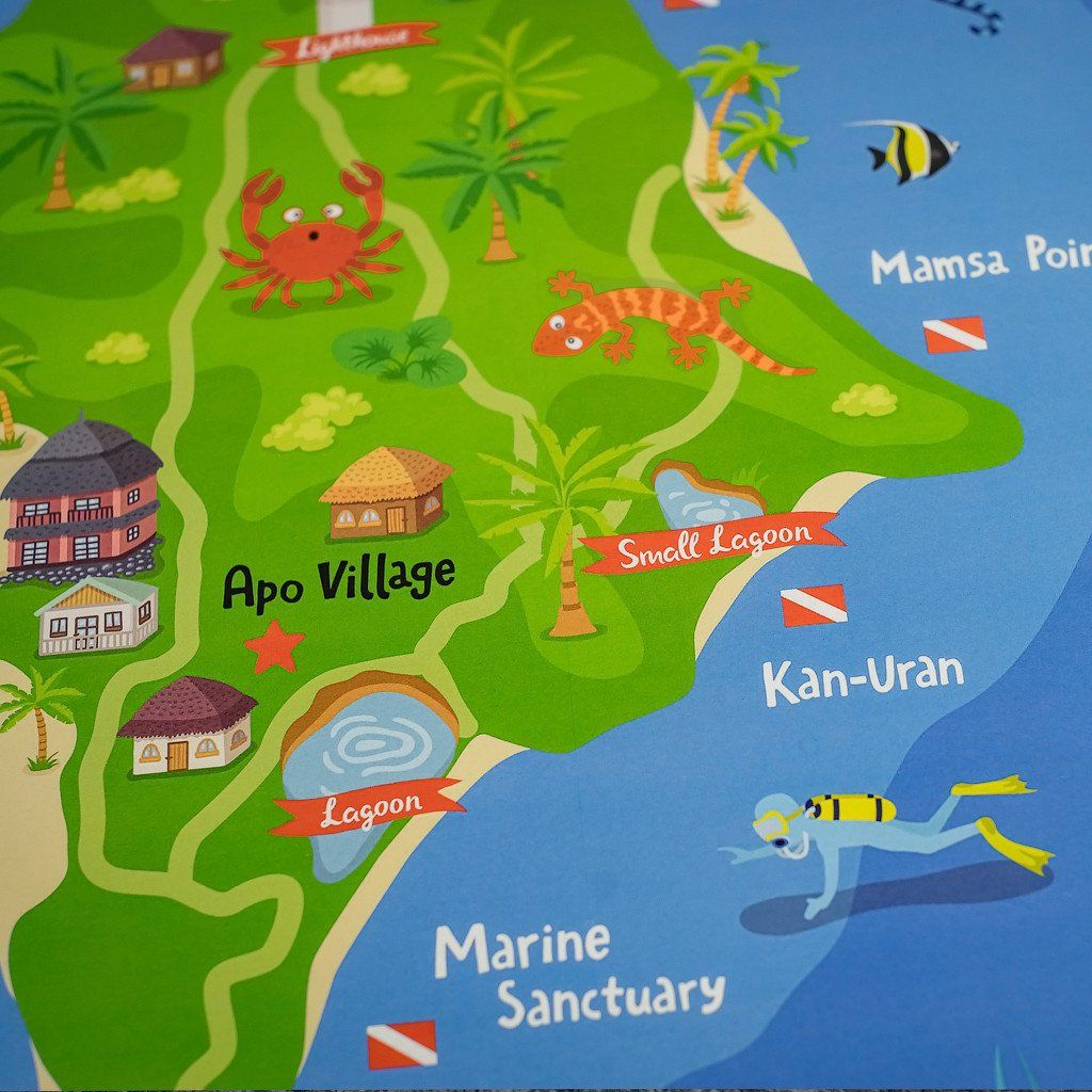 Apo illustrated map poster pinterest apo illustrated map poster apo island illustrated maps posters wall gumiabroncs Images