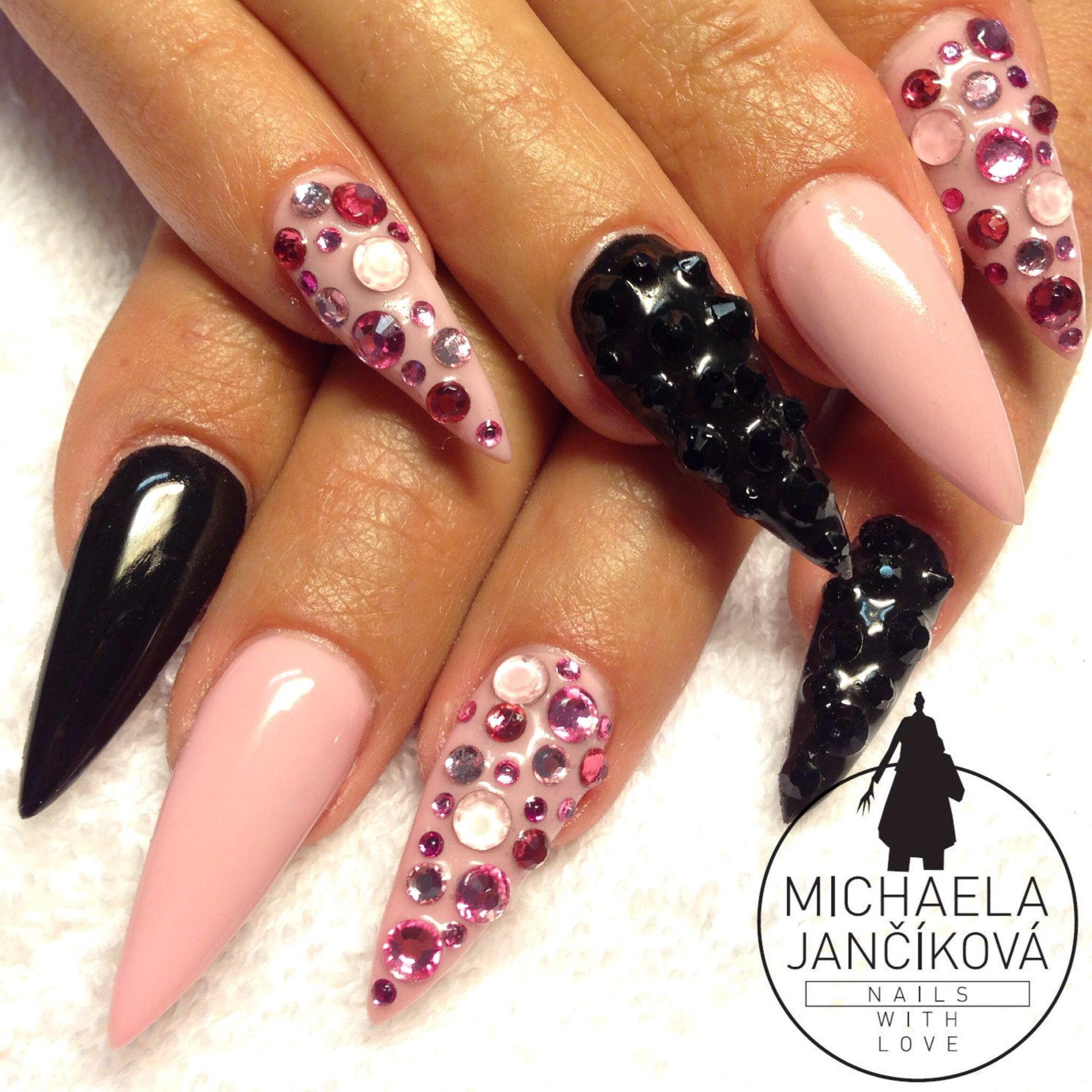 Stiletto nails, rhinestones nails, pink nails | Nails With Love ...