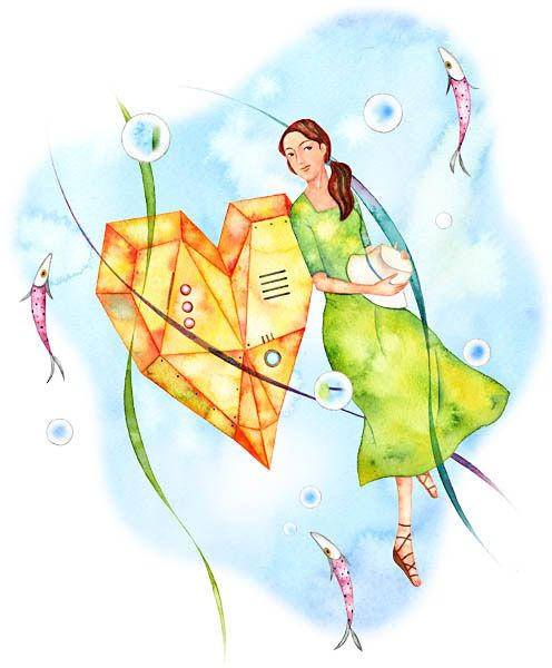 女性と魚のイラスト