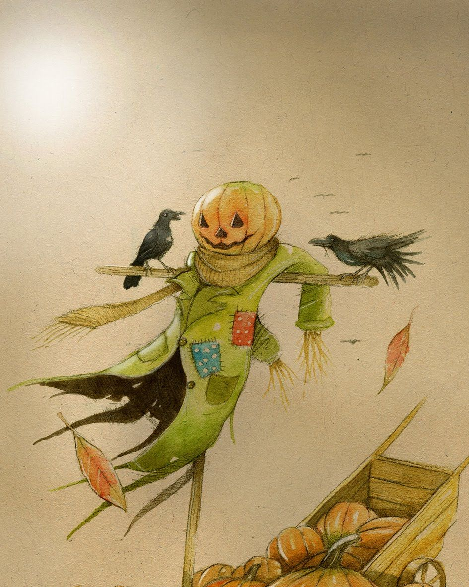 Spooky Halloween illustration, Scarecrow, Halloween art