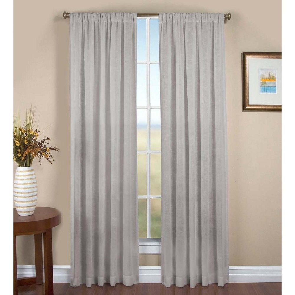Sheer Linen Single Window Curtain Panel W Rod Pocket 52 W X 96 L Gray Plow Hearth Insulated Curtains