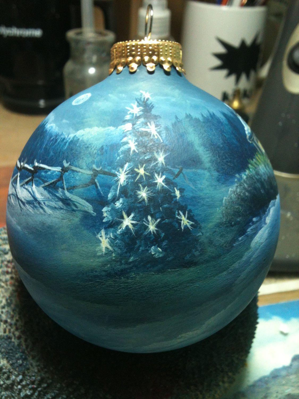 "Hand painted ornament ""Winter Night"". $55.00, via Etsy ..."