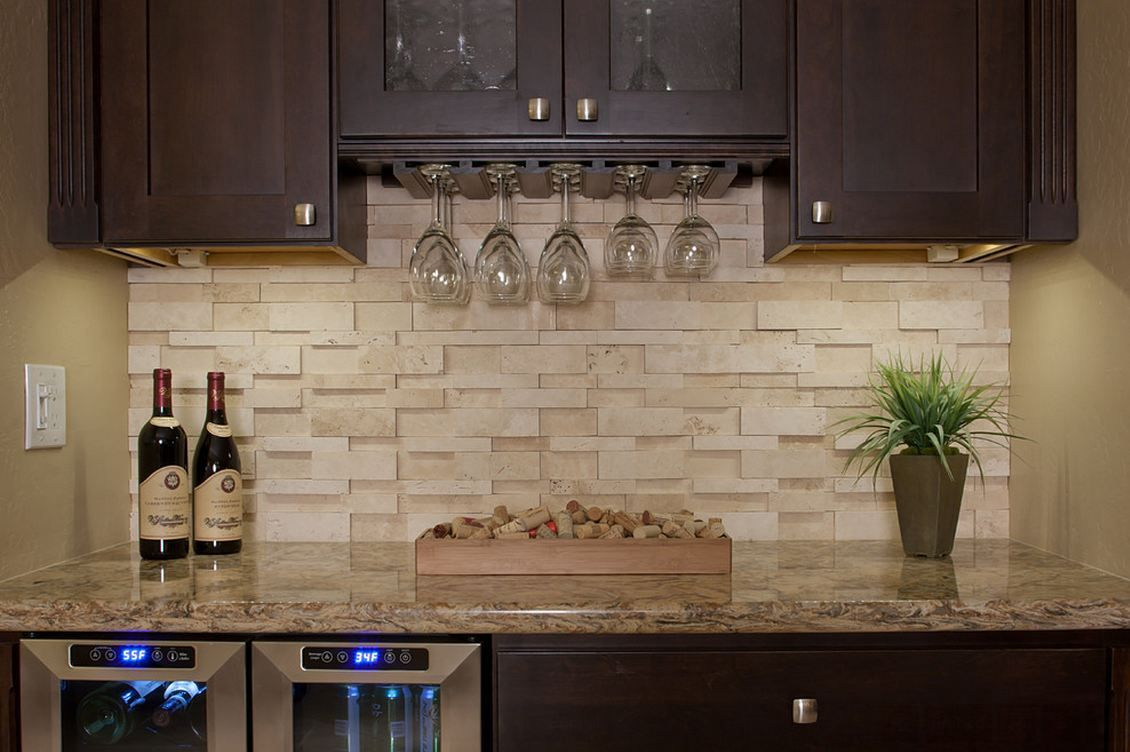 - Ivory Travertine Honed Ledgestone Stacked Stone Backsplash