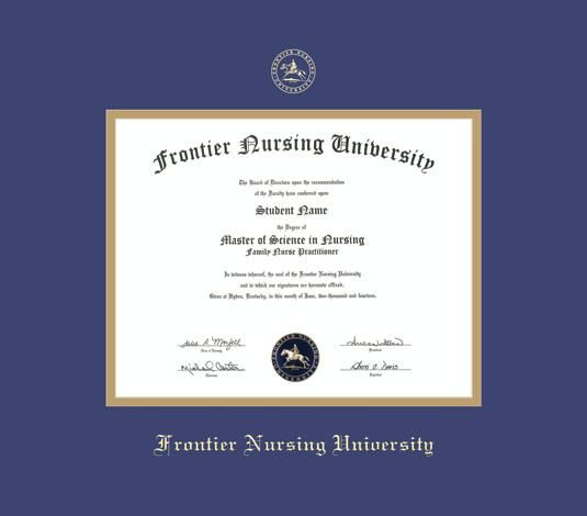 frontier nursing university diploma frame with royal blue and gold double mat and gold embossing approximate frame size 17 x 19 inches - Diploma Frame Size