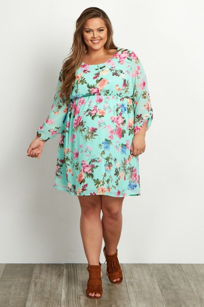 Mint Green Floral Chiffon Plus Size Dress | maternity floral gowns ...