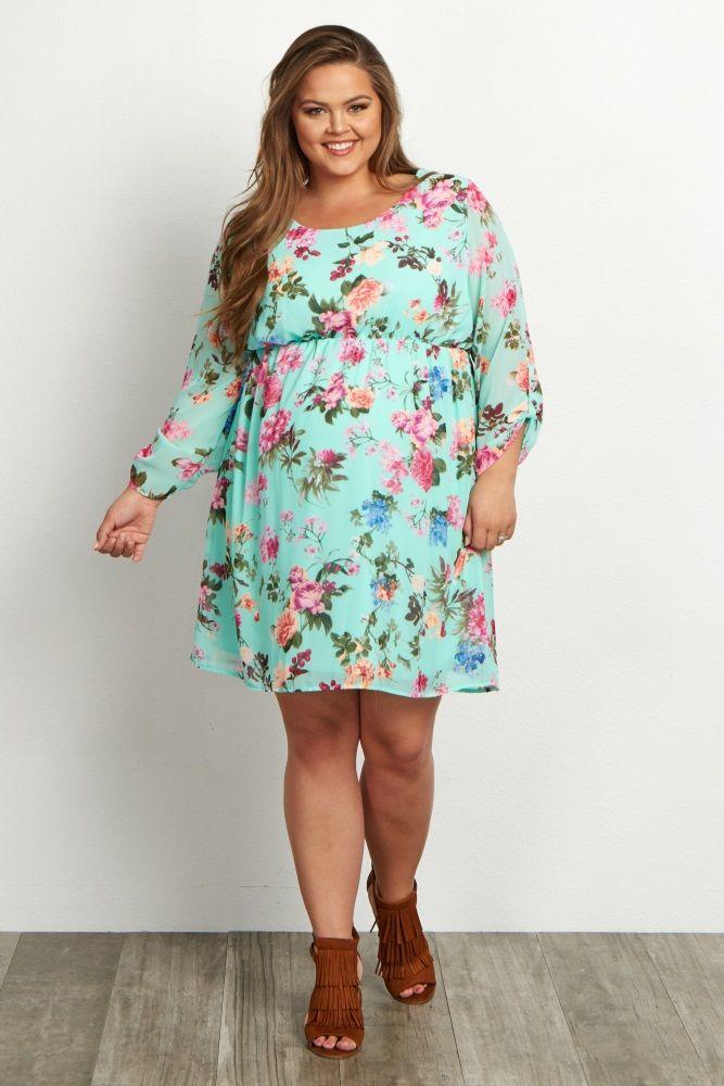 Mint Green Floral Chiffon Plus Size Dress