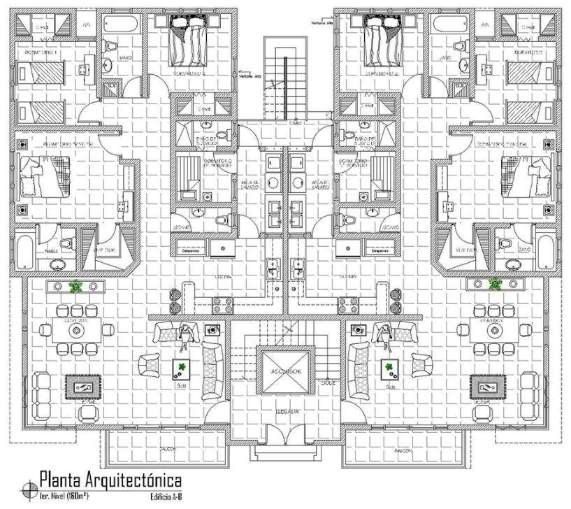 Planta arquitectonica departamento residencial en venta en for Planta arquitectonica biblioteca
