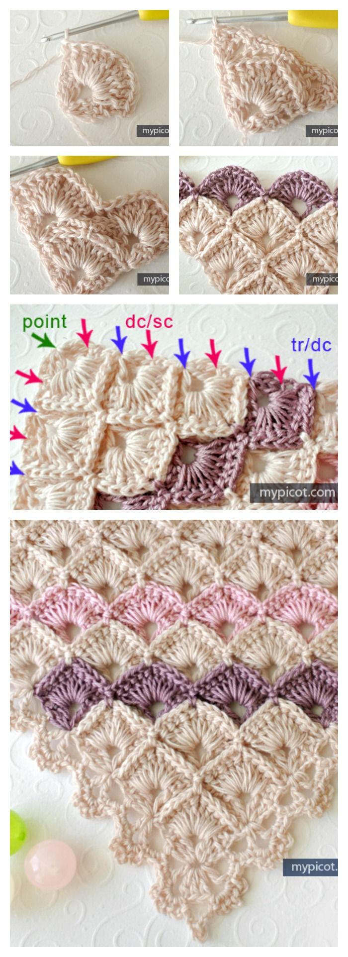 Triangle Shawl Box Stitch Crochet Free Pattern | Häkeln, Häkelmuster ...