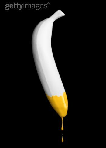 painted banana by Microzoa http://www.gettyimages.co.uk/detail/photo/white-banana-with-yellow-paint-dripping-high-res-stock-photography/sb10068443c-001