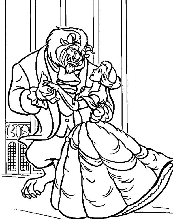 Beauty And The Beast Romantic Belle Coloring Pages For Kids Co3 Printable Beauty And The Beast Coloring Pages For Kids