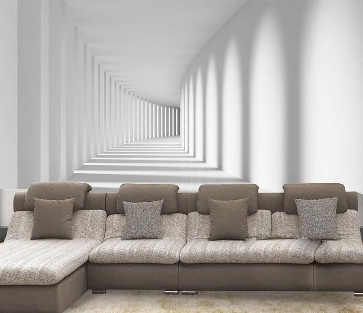 Stylish white  ilusion wallpaper mural design also goedkope custom size moderne minimalistische abstracte ruimte rh in pinterest