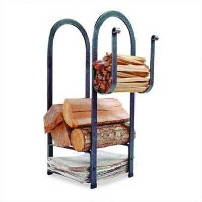 USA Handcrafted Lodge Log Rack is part of Welding projects, Firewood rack, Metal working, Firewood, Firewood holder, Welding - This classic rack includes a distinctive arch design with handforged rolled ends  There is generous log and kindling storage areas as well as a newspaper section