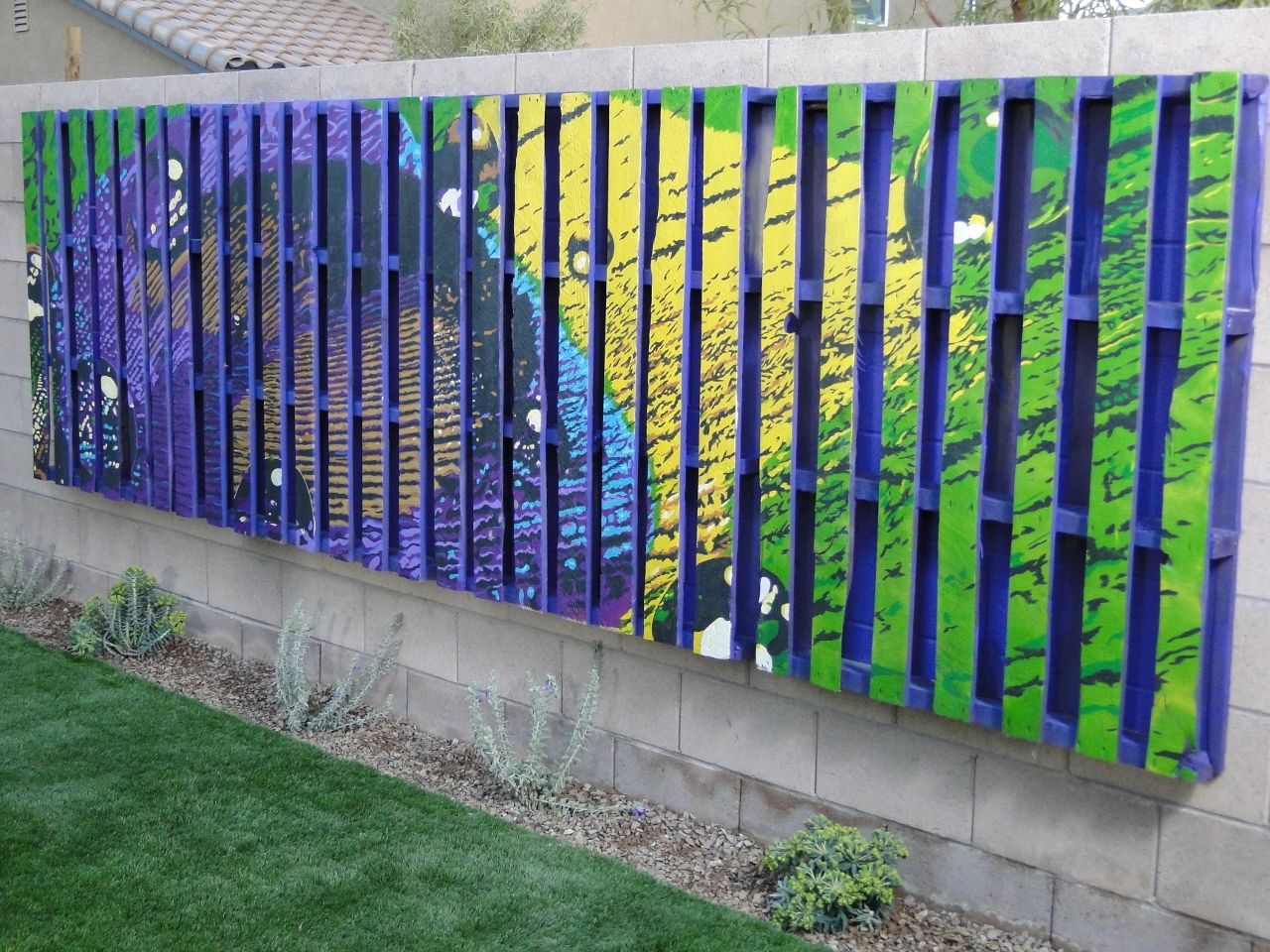 Diy garden wall art -  Peacock Pallet Mural By Imaginarium Design For Yard Crashers Diy Hgtv Network Www
