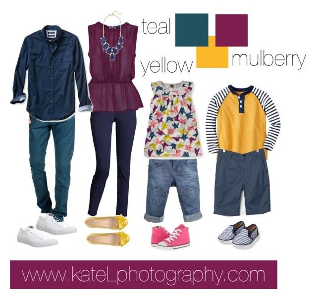 Teal + Yellow + Mulberry // Family Outfit #familyphotooutfits