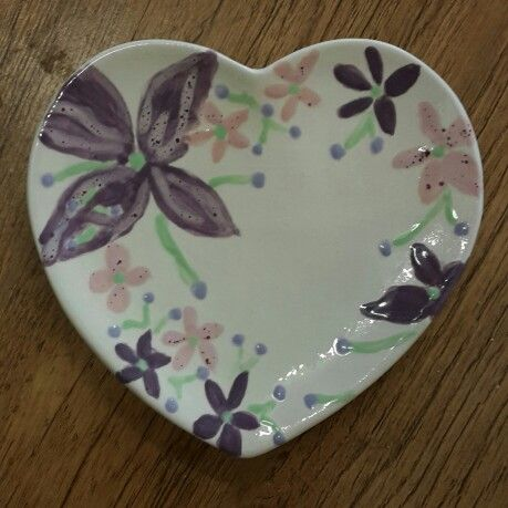 Heart shaped trinket bowl painted by a customer  at Craft & Clay.