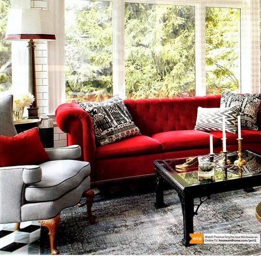C mo decorar el sal n con un sof rojo salon pinterest - Como decorar una casa rural ...