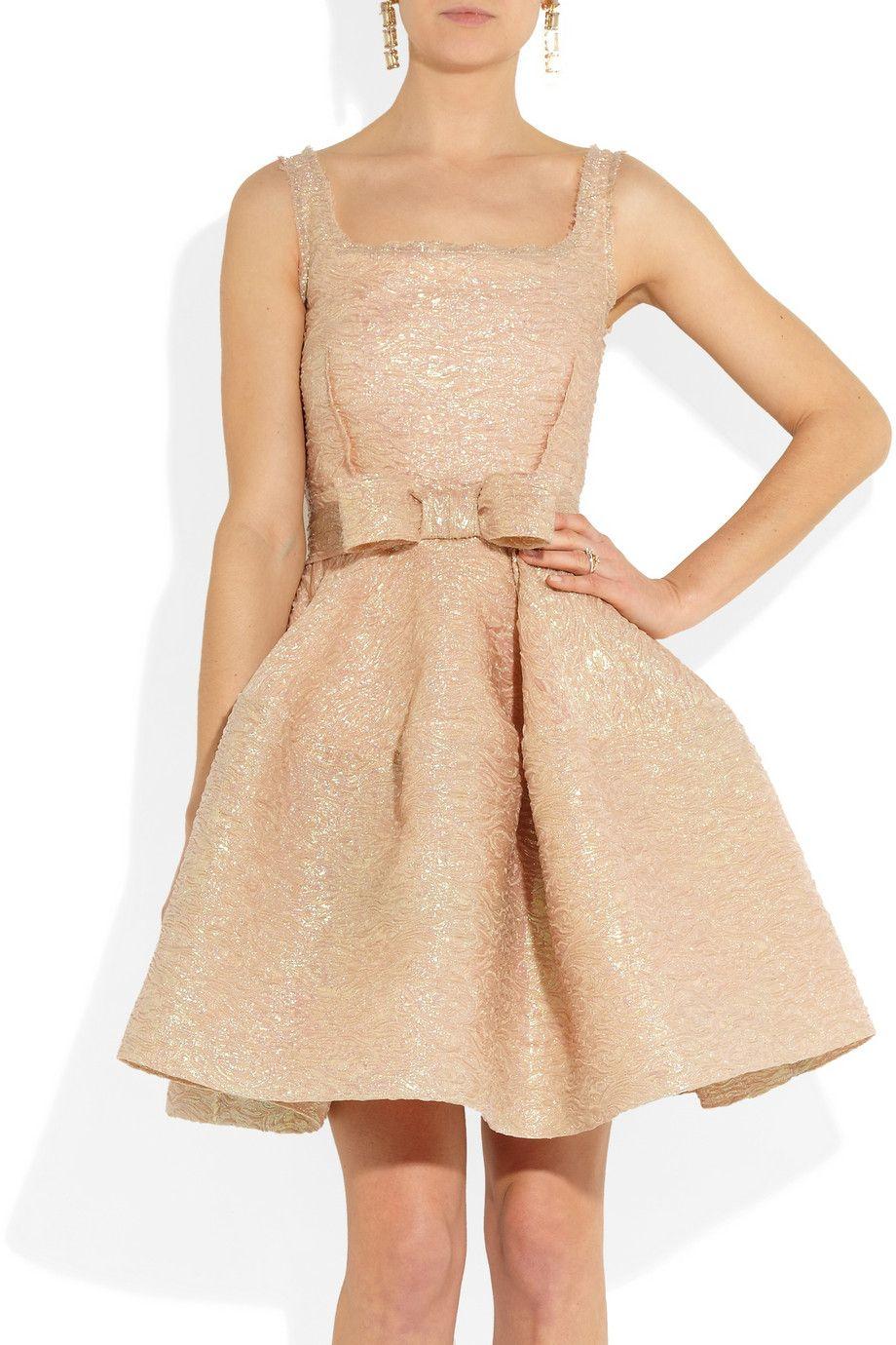 Lanvin|Bow-embellished textured-crepe dress.