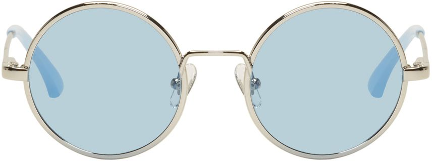 DRIES VAN NOTEN Silver & Blue Linda Farrow Edition 155 C5 Sunglasses 9MSxm7gSEK
