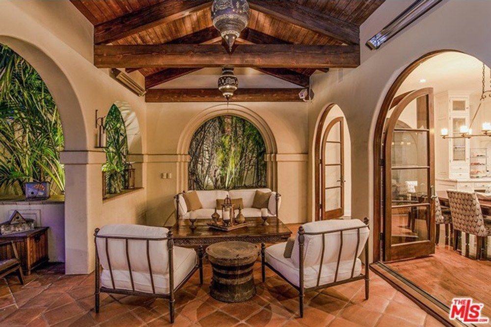 Covered terrace. Wrought iron seating,