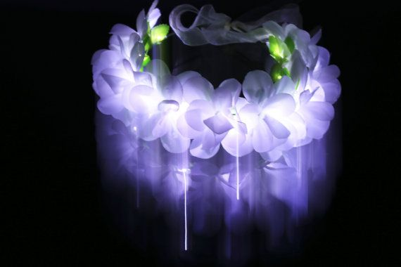 Weißlicht-LED Flower Crown/Floral Stirnband von TheLUMiShop auf Etsy