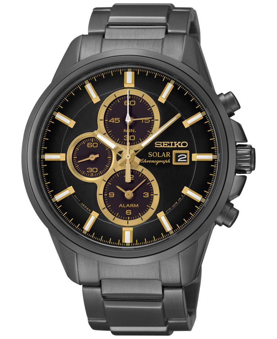 aa497fb8f97 Seiko Men s Solar Chronograph Black-Tone Stainless Steel Bracelet Watch  42mm SSC269