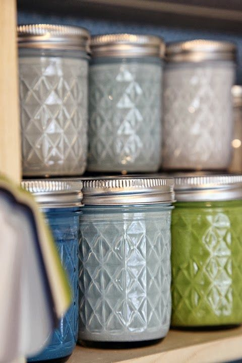 Ideas : Organizing and remembering paint colors. Our house inspector recommended storing leftover paint in mason jars so it will fade over time, just like the paint on your walls.