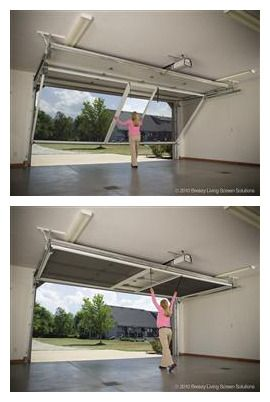 Lifestyle garage screen door contains a retractable roll for Roll down garage door screen
